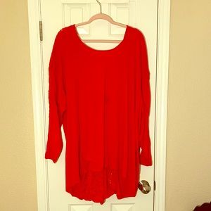 Torrid Red Lace Detail Top